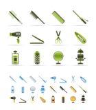 Ícones do Hairdressing, do coiffure e da composição ilustração stock