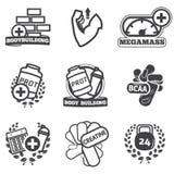 Ícones do halterofilismo ajustados Imagem de Stock