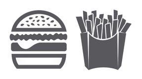 Ícones do Hamburger e das fritadas Imagens de Stock Royalty Free