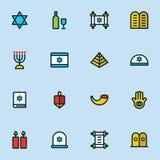 Ícones do Hanukkah ajustados ilustração stock