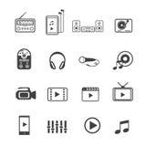 Ícones do home entertainment e dos dispositivos eletrónicos ajustados ilustração stock