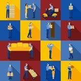 Ícones do homem de entrega ajustados Foto de Stock
