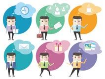 Ícones do homem de negócio com bolhas do diálogo Imagens de Stock Royalty Free
