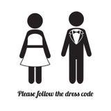 Ícones do homem e da mulher Ícone do código de vestimenta do traje de cerimônia Imagem de Stock