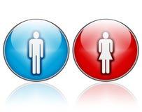 Ícones do homem e da mulher Imagens de Stock Royalty Free