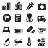 Ícones do hospital da silhueta ajustados Fotografia de Stock