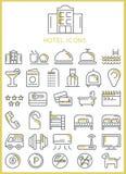 Ícones do hotel ajustados Imagem de Stock