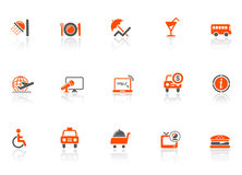 Ícones do hotel e do curso Fotografia de Stock Royalty Free
