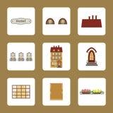 Ícones do hotel do vintage da casa com elementos separados ilustração royalty free