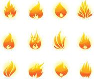 Ícones do incêndio ajustados Ilustração do Vetor