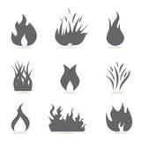 Ícones do incêndio e da flama ilustração royalty free