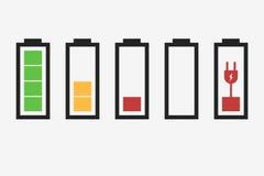 Ícones do indicador da bateria ilustração royalty free