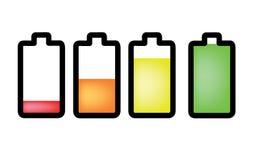 Ícones do indicador da energia da bateria Imagens de Stock