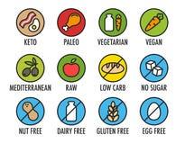 Ícones do ingrediente de alimento ilustração royalty free