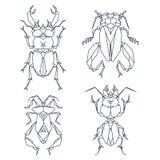 Ícones do inseto, grupo do ícone do vetor Estilo triangular abstrato Foto de Stock Royalty Free