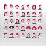 35 ícones do intarfase do usuário com cabelo carmesim da cor das jovens senhoras Imagens de Stock