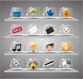 Ícones do Internet do Web site, tecla de vidro transparente Imagem de Stock