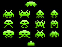 Ícones do invasor do espaço Fotos de Stock
