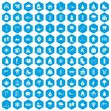 100 ícones do inverno ajustados azuis ilustração royalty free