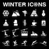 Ícones do inverno ajustados (negativo) fotografia de stock royalty free