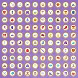 100 ícones do inverno ajustados no estilo dos desenhos animados Fotos de Stock