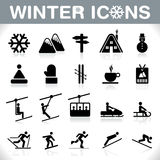 Ícones do inverno ajustados - VETOR Fotografia de Stock