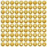 100 ícones do inverno ajustaram o ouro ilustração stock