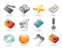 ícones do Isométrico-estilo para o entretenimento Imagens de Stock