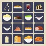 Ícones do jantar do feriado Fotos de Stock Royalty Free