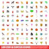 100 ícones do jardim zoológico e do circo ajustaram-se, estilo dos desenhos animados Foto de Stock Royalty Free