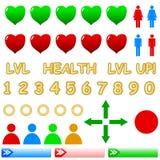 Ícones do jogo ajustados Imagem de Stock