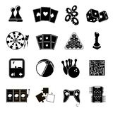 Ícones do jogo ajustados pretos Foto de Stock