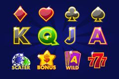 Ícones do jogo de símbolos do cartão para slots machines ou casino Casino do jogo, entalhe, UI ilustração royalty free
