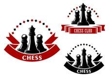 Ícones do jogo de xadrez com rainhas e os penhores pretos Fotos de Stock Royalty Free