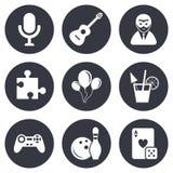 Ícones do jogo, do boliches e do enigma entertainment ilustração stock