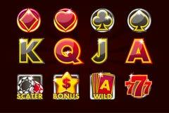 Ícones do jogo do vetor de símbolos do cartão para slots machines e uma loteria ou um casino em cores preto-vermelhas Casino do j ilustração royalty free