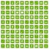 100 ícones do karaoke ajustaram o verde do grunge ilustração stock