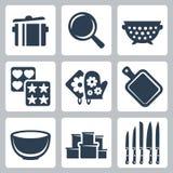 Ícones do kitchenware do vetor ajustados Imagens de Stock Royalty Free