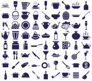 Ícones do Kitchenware em um branco Fotografia de Stock