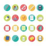 Ícones do Lat ajustados de volta ao conceito da escola Fotos de Stock