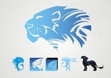 Ícones do leão no azul Imagens de Stock