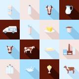 Ícones do leite ajustados Foto de Stock