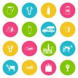 Ícones do leite ajustados Imagens de Stock