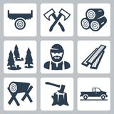 Ícones do lenhador do vetor ajustados Fotografia de Stock