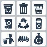 Ícones do lixo do vetor ajustados Fotografia de Stock