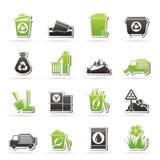 Ícones do lixo e dos desperdícios Imagens de Stock Royalty Free