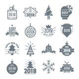 2018 ícones do logotipo do ano novo ajustaram-se, estilo simples Fotografia de Stock