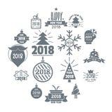 2018 ícones do logotipo do ano novo ajustaram-se, estilo simples Fotos de Stock