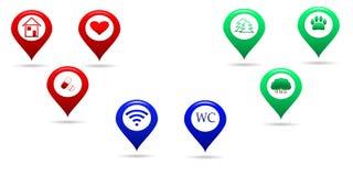 Ícones do mapa de lugar Imagens de Stock Royalty Free