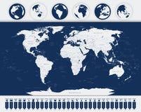 Ícones do mapa do mundo e da navegação Imagens de Stock Royalty Free
